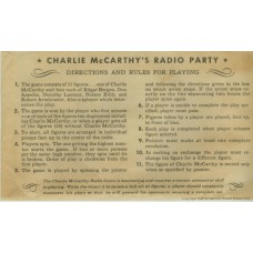Charlie McCarthy Radio Party Game
