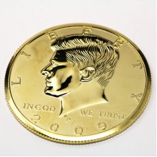 Kennedy Half Dollar - Three Inch - Gold Plated - Deluxe