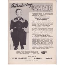 Rickie Tik Promotional Ad Sheet